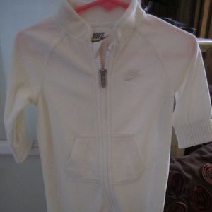 Nike Infant Girl's White Velour One Piece Outfit
